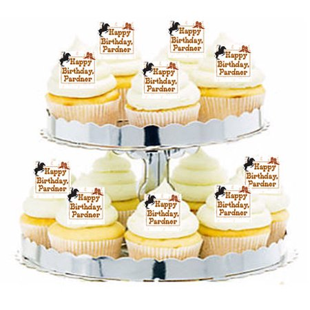 24pk Western Cowboy Happy Birthday Edible Cupcake  Decoration Toppers / Picks - Cowboy Birthday Cake