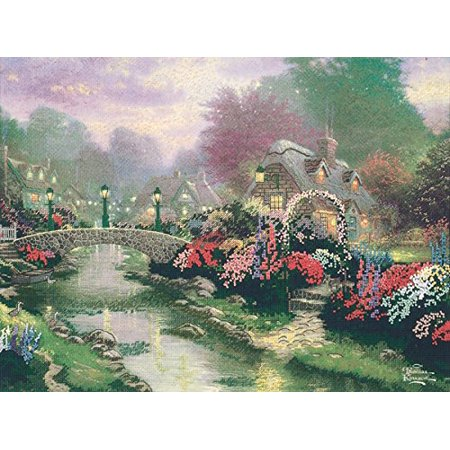 M C G Textiles Thomas Kinkade Lamplight Bridge Embellished Cross Stitch Kit, 12 by 16-Inch