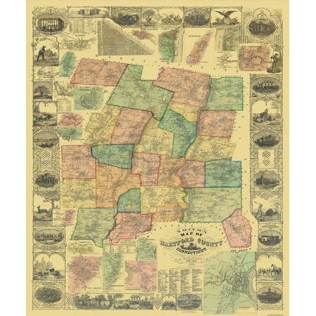 - Old County Map - Hartford Connecticut Landowner - 1855 - 23 x 27.63