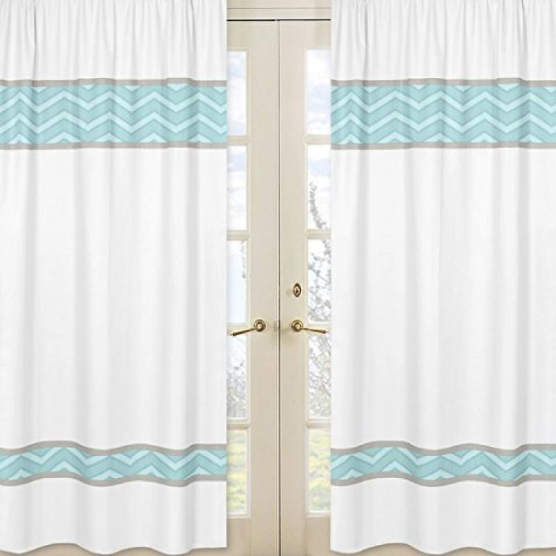 Blue Chevron and White Window Treatment Panels for Balloon Buddies Collection - Set of 2
