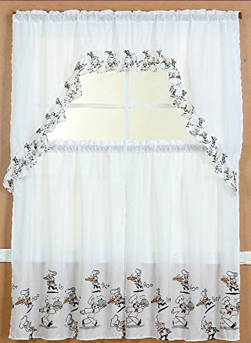 3pc CHEF Kitchen Window Ruffle Rod Tier Curtains Swag Valance Set DRAPE  TREATMENT