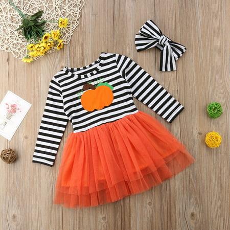 Halloween Pumpkin Dress (Baby Girls Halloween Costume Pumpkin Dress Long Sleeve Striped Tulle Party)