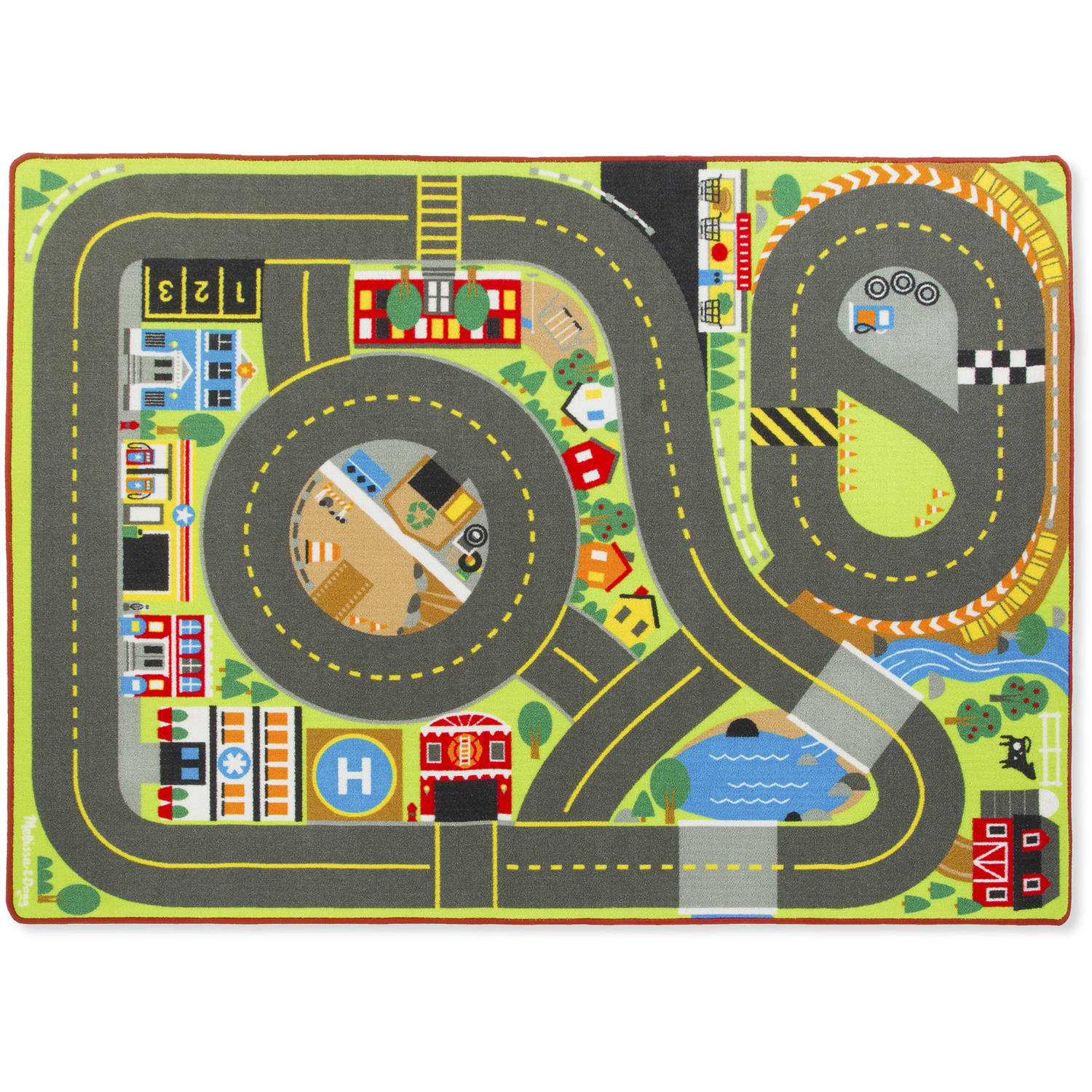 Melissa & Doug Jumbo Roadway Activity Rug With 4 Wooden Traffic Signs (79 x 58 inches) by Generic