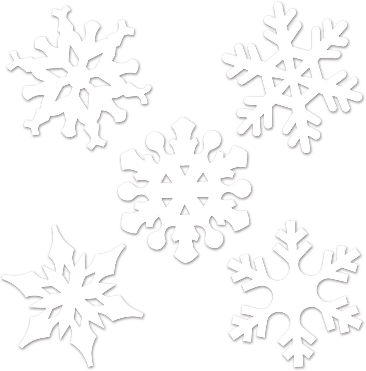 Set Of 10 Mini Snowflake Cutouts Christmas Holiday Party Decorations 4.5