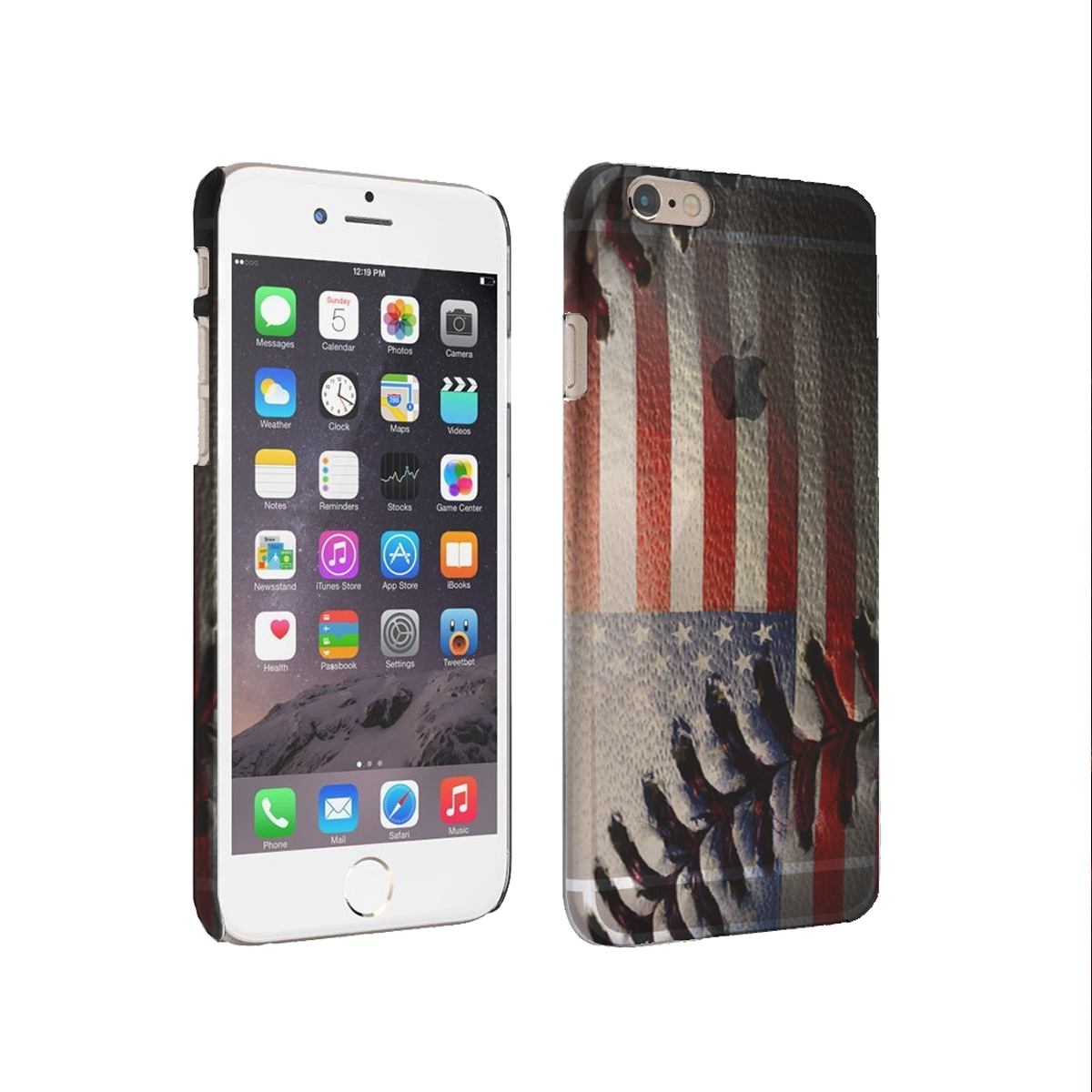 KuzmarK iPhone 6 Plus Rubber Cover Case - American Flag Baseball Stitch