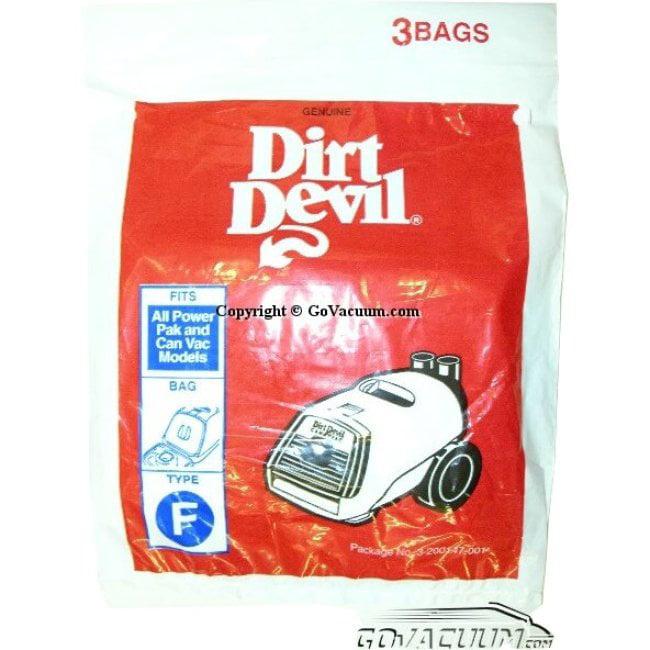 Genuine Royal Dirt Devil Style F Replacement Vacuum Bags 3 pack OEM