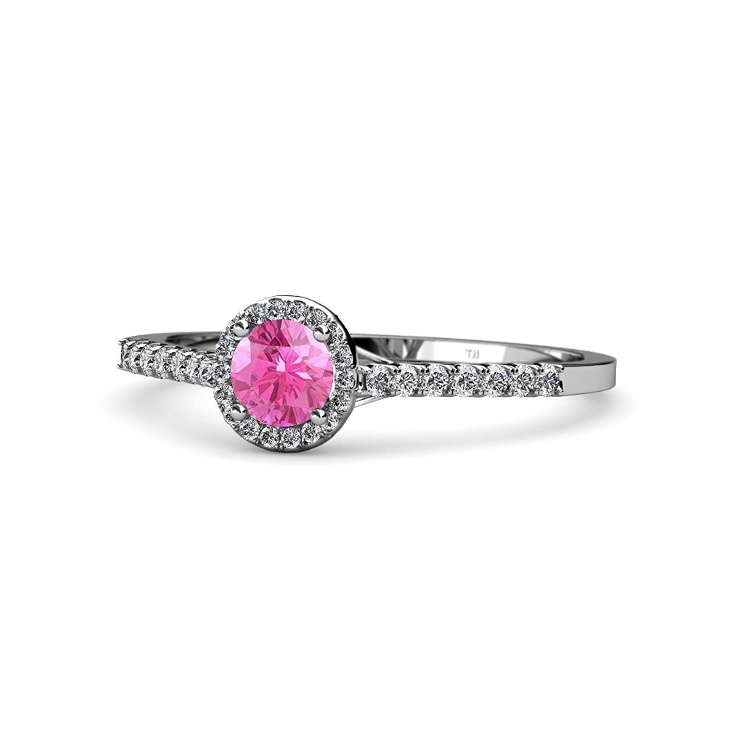 Pink Sapphire and Diamond (SI2-I1, G-H) Halo Engagement Ring 1.00 ct tw in 14K White Gold.size 9.0 by TriJewels