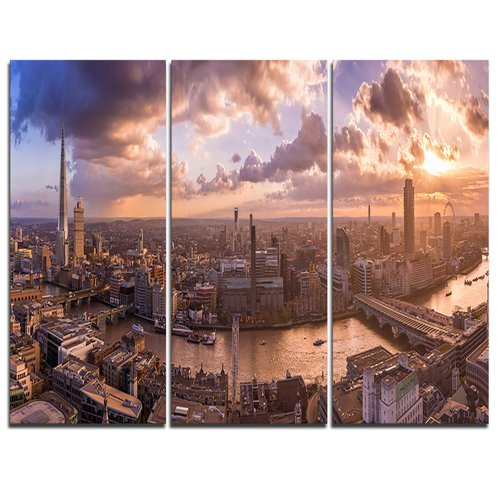Design Art Sunset through Clouds in London - 3 Piece Graphic Art on Wrapped Canvas Set