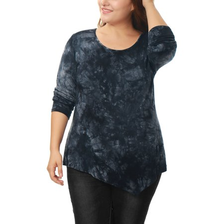 92dfd51ffc6cd Women s Plus Size Long sleeve Shirts Tie Dye Handkerchief Hem Tunic Top  Shirt Blouse - Walmart.com