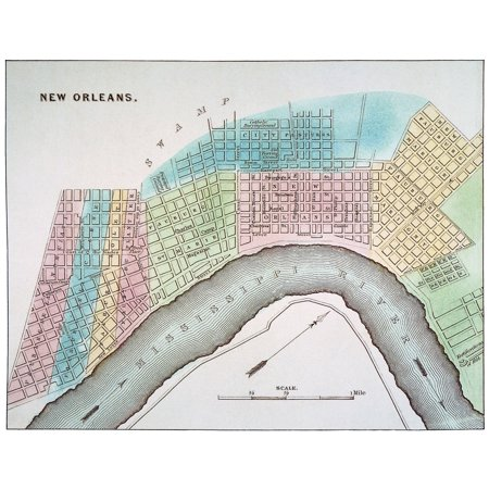 New Orleans Map 1837 Nmap Of New Orleans Louisiana Rolled Canvas Art
