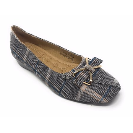 Victoria K Women's Bow Plaid Wedge