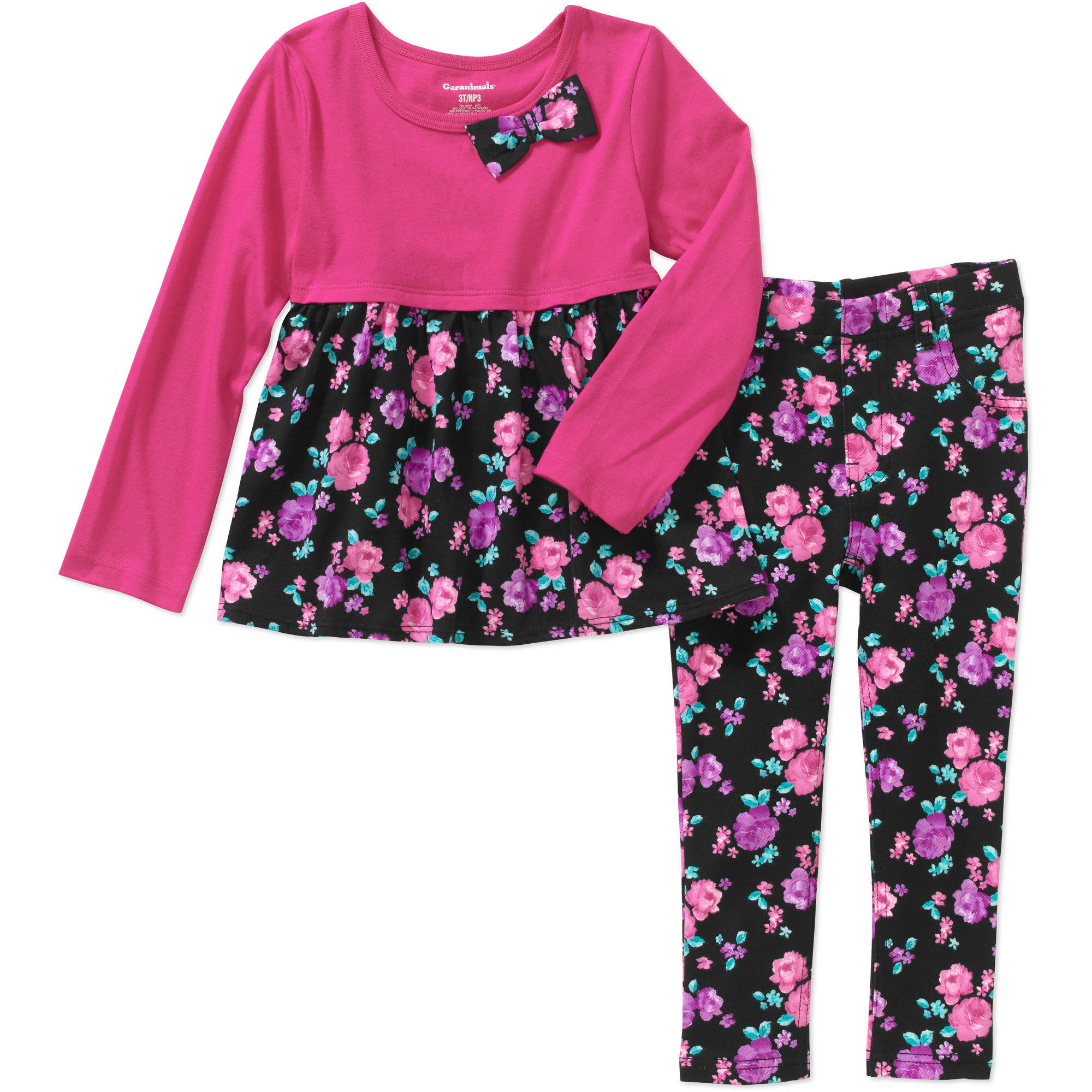 Garanimals Baby Toddler Girl Printed Babydoll Tee & Printed Jeggings 2 Pc Set