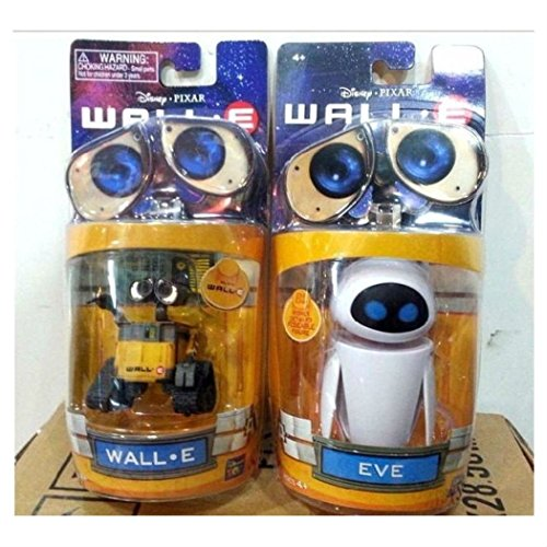 Pixar Wall-E and Eee-Vah EVE Set of 2pcs Mini Robot Action Figure Toy New