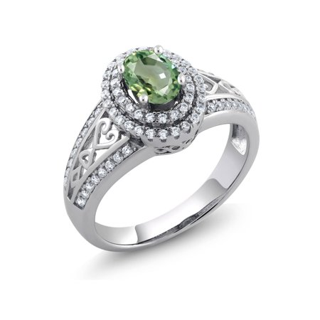 1.41 Ct Oval Green Sapphire 925 Sterling Silver Ring