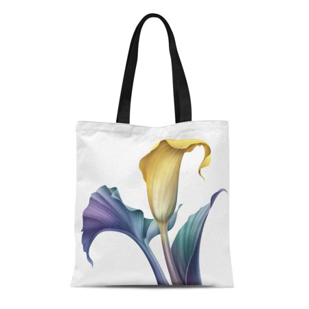 Tropical Chill Bag (SIDONKU Canvas Bag Resuable Tote Grocery Shopping Bags Blue Artistic Abstract Tropical Flower Botanical Calla Lily Clip Yellow Tote)