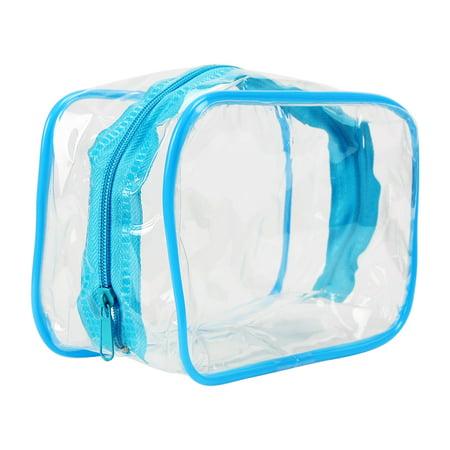 Unique BargainsCosmetic Makeup Toiletry Clear PVC Travel Bathroom Wash Bag Box Pouch Kit Blue