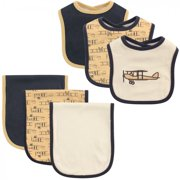Hudson Baby Infant Boy Cotton Bib and Burp Cloth Set 6pk, Airplane, One Size