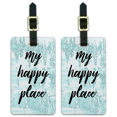 My Happy Place Luggage ID Tags Suitcase Carry-On Cards - Set of (Best Place To Purchase Luggage)