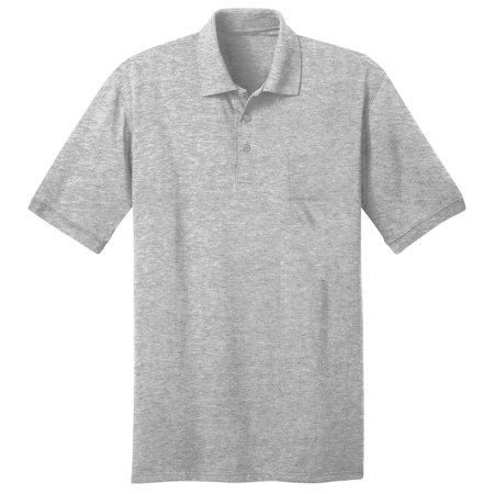 Port & Company Men's Comfortable Knit Pocket Polo Shirt 1/4 Zip Polo Shirt