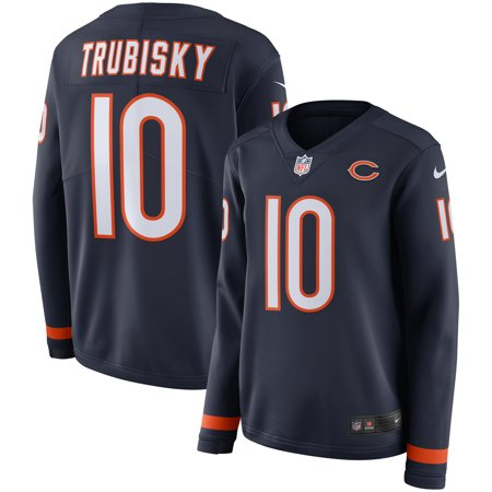 another chance 00dab 12091 Mitchell Trubisky Chicago Bears Nike Women's Therma Long Sleeve Jersey -  Navy
