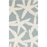2' x 3' Nautical Starfish Powder Blue and White Hand Woven Wool Area Throw Rug