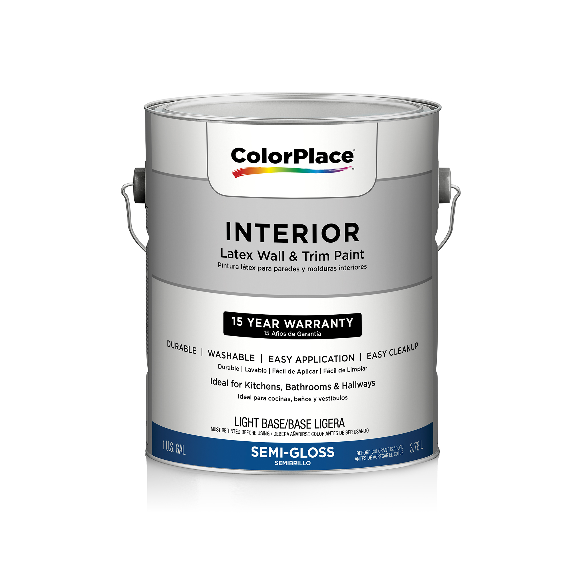 ColorPlace Interior Semi-Gloss Light Base Paint, 1 Gal
