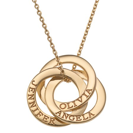 Family Jewelry Personalized Mother's Sterling Silver or Gold over Silver Interlocking Rings Engraved Names Necklace, (Engraved Gold Necklace)