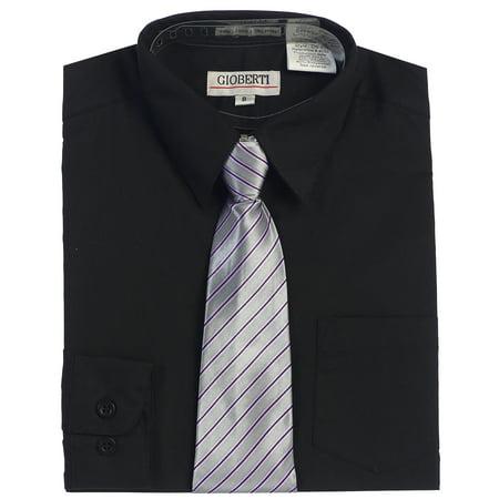 Gioberti Boys Long Sleeve Dress Shirt + Stripe Clip Tie, Size 2T - 18