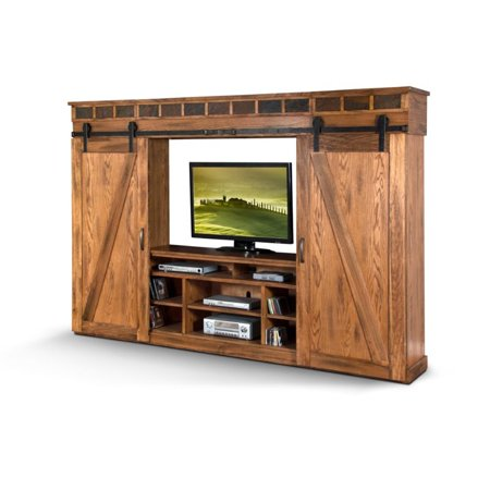 Sunny Designs Sedona 121″ Entertainment Center in Rustic Oak