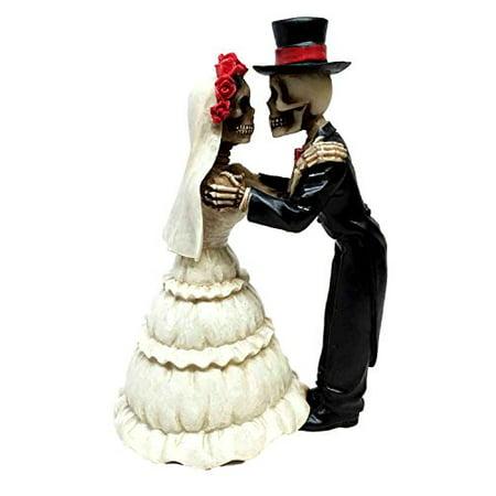 LOVE NEVER DIES THE KISS BRIDE AND GROOM STATUE COUPLE ETERNAL SKELETONS Bride And Groom Kiss
