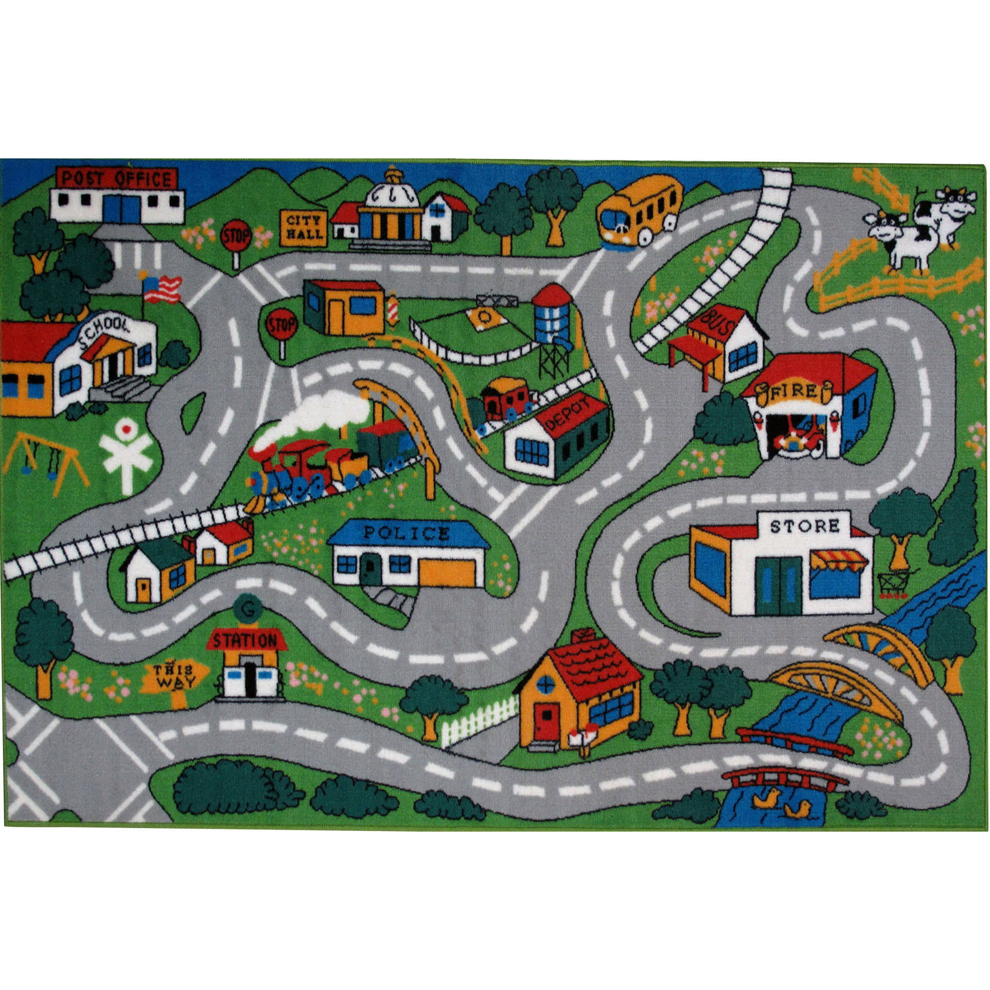 farmlife playroom animal dp rugs kitchen bedroom playmat reversible road roadmap uk co home rug childrens cars amazon