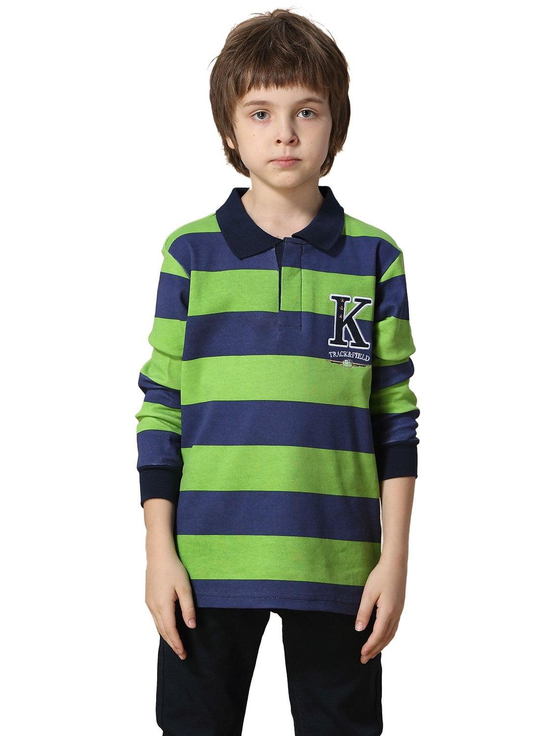 Leo&Lily Big Boys' Kids Yarn Dyed Polo Shirts T-Shirt