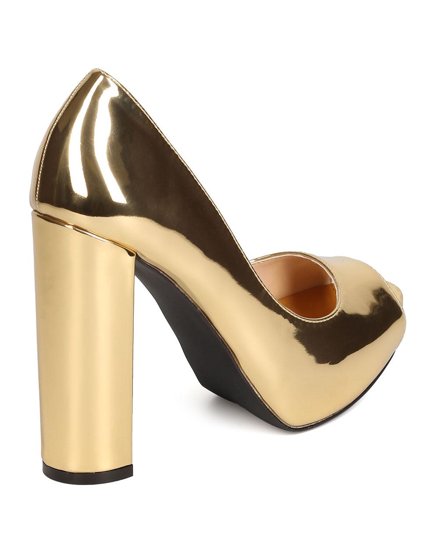 82f046e4f2b Qupid - Qupid FI98 Women Metallic Leatherette Peep Toe Platform Block Heel  Pump - Walmart.com