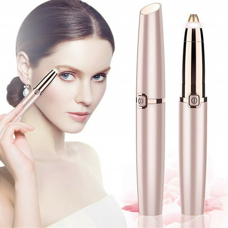 2019 Upgraded | Eyebrow trimmer for women & men, Painless & Portable & Precision Electric Trimmer with LED Light, Eyebrow Hair Remover, Eyebrow Razor | Rose Gold(Batteries not (Best Travel Shaver 2019)