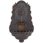 "John Timberland Roman Outdoor Wall Water Fountain with Light 31 1/2"" High Lion Head 2 Tiered for Yard Garden Patio Deck Home"
