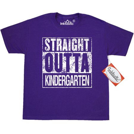 Inktastic Straight Outta Kindergarten Youth T-Shirt Graduation Kids Grads School Ceremony Celebrate Party Tee Children Child Tween Clothing Apparel Teen - Kids Graduation
