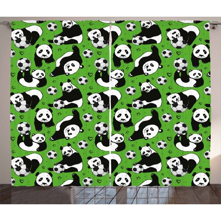 Hand Drawn Hearts (Soccer Curtains 2 Panels Set, Funny Panda Animals Playing with Balls Hand Drawn Style Hearts and Stars, Window Drapes for Living Room Bedroom, 108W X 90L Inches, Lime Green Black)
