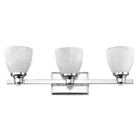 White Transitional Four Light (CHLOE Lighting GEWNEVERE Transitional 3 Light Chrome Finish Bath Vanity Wall Fixture White Alabaster Glass 23