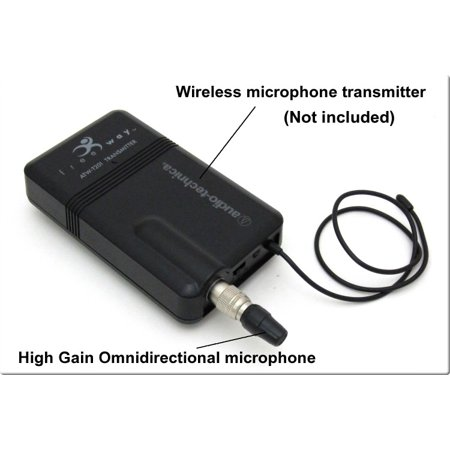 Miniature Instrument Microphone (SP-WCM-CW - Sound Professionals - Miniature high-gain Omnidirectional microphone with windscreen for Audio Technica wireless systems)
