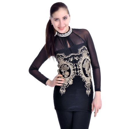 S/M Fit Black Victorian Embroidered Inspired High Lace Neck Blouse