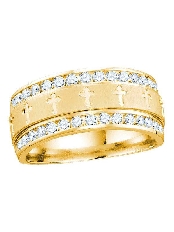 14k Yellow Gold Mens Round Diamond Grecco Christian Cross Wedding Anniversary Band Ring 1.00 Cttw by GND