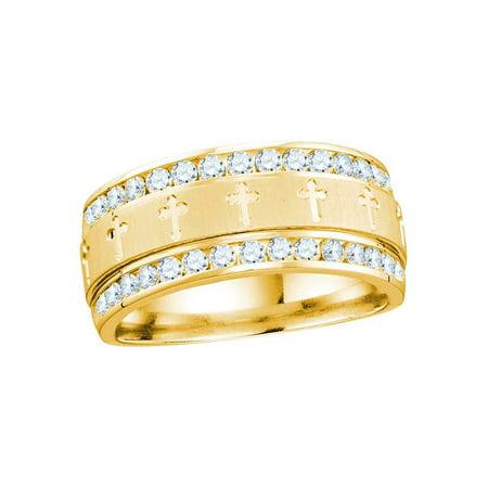 14k Yellow Gold Mens Round Diamond Grecco Christian Cross Wedding Anniversary Band Ring 1.00 Cttw - image 1 of 1
