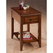 Jofran 1031-7 Chairside Table with Bookmatch Inlay, Quarter Round Edge and Round Antique