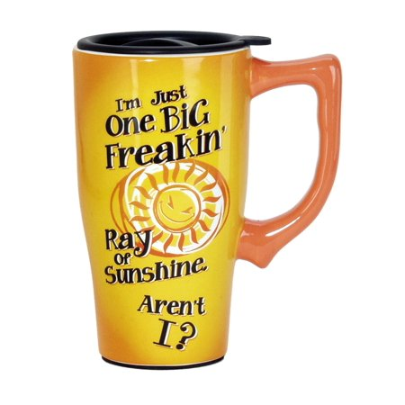 Rays Mug - Big Ray of Sunshine Travel Mug, Yellow, For Hot and Cold Beverages By Spoontiques