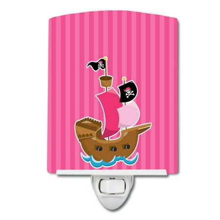 Pirate Ship Pink Ceramic Night Light - Pirate Lamps