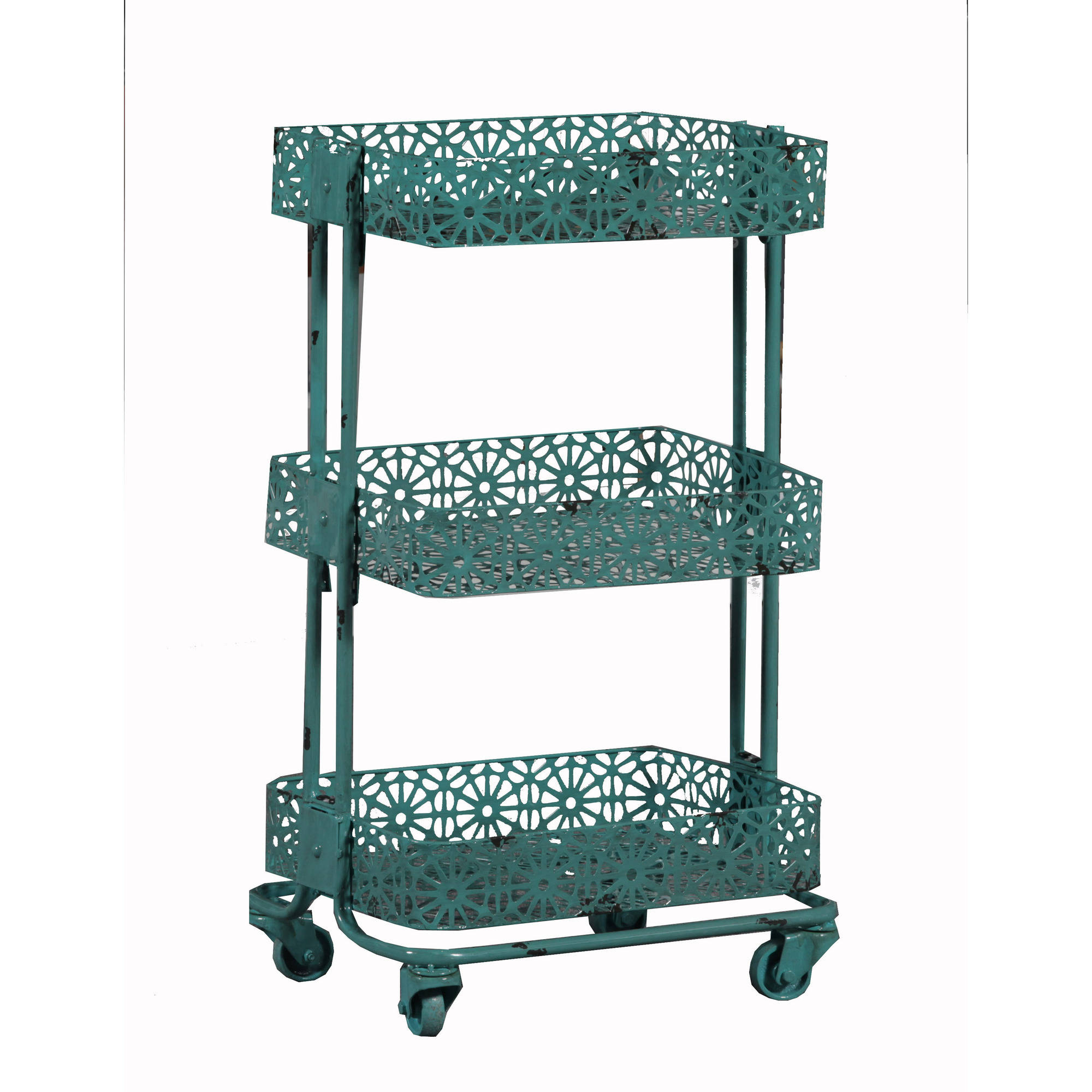 Linon Metal Three Tier Cart, Turquoise, 29 Inches Tall   Walmart.com