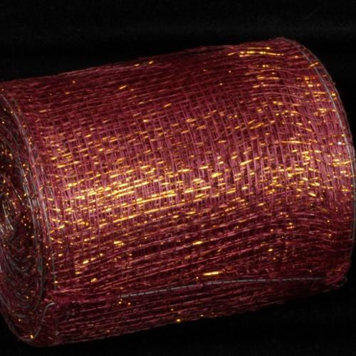 "Wine and Gold Wired Sinamay Abac�� Fiber Ribbon 5"" x 32 Yards"