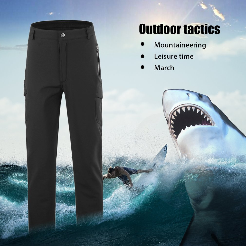 Tactical Waterproof Soft Shell Pants Men Windproof Military Trouser Shark Skin,Black(XL) by YKS
