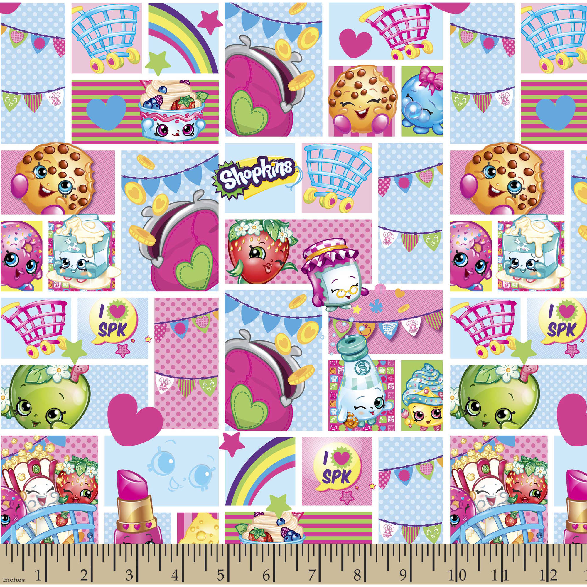 "Licensed Tablecloth Shopkins Patch Party Fabric by the Yard, Multi, 57""/58"" Width"