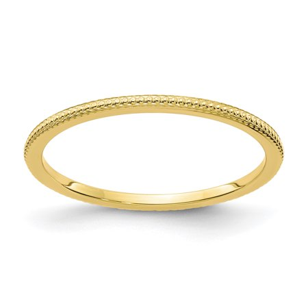 10k Yellow Gold 1.2mm Bead Stackable Band Ring LAL202